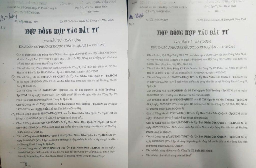 hop dong dau tu du an cua cong ty Hai Nhan voi khach hang