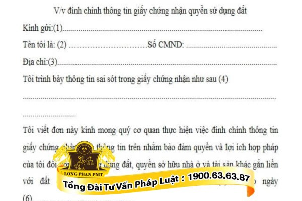 mau don de nghi dinh chinh so dat