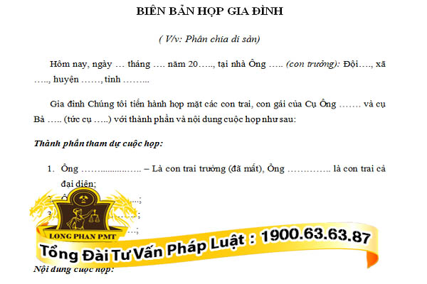 huong dan viet bien ban hop gia dinh phan chia di san