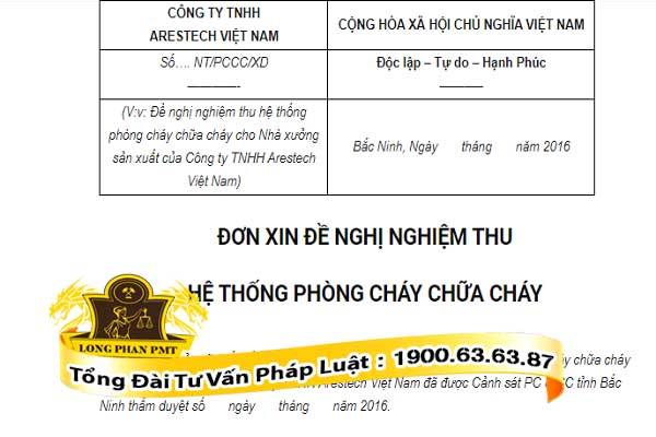 huong dan viet don de nghi nghiem thu pccc