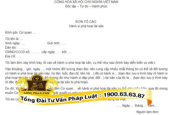 huong dan viet don to cao pha hoai tai san