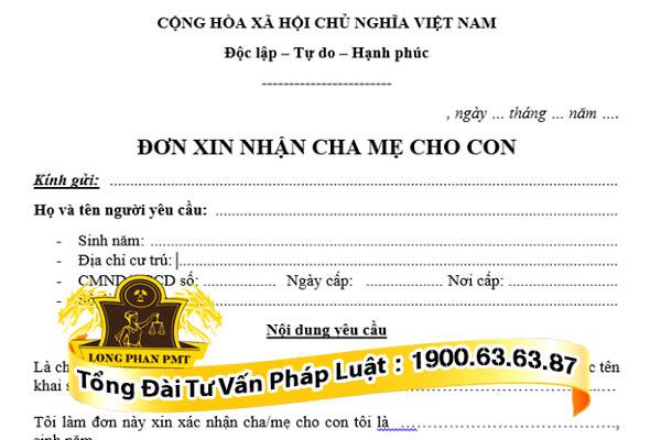 huong dan viet don xin nhan cha me cho con