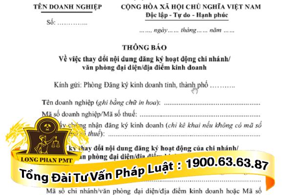 Thong bao thay doi hoat dong cua chi nhanh, van phong dai dien